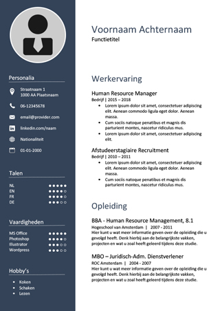 cv word sjabloon cv template nederlands word   Canas.bergdorfbib.co