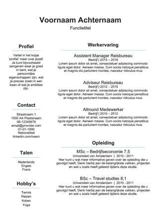 Wonderbaarlijk Gratis) cv templates - Makkelijk aan te passen in Word - WETALENT KT-82