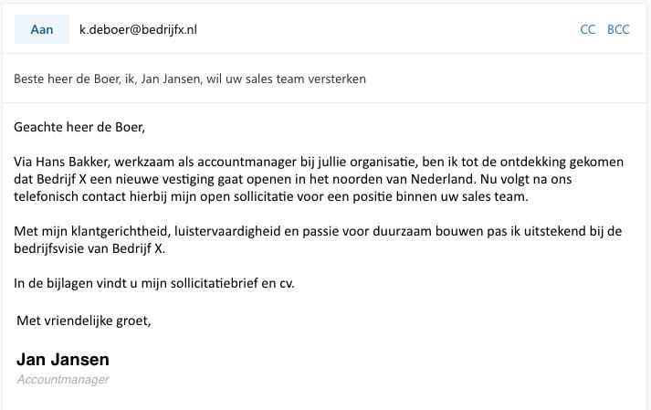 Voorbeeld mail open sollicitatie