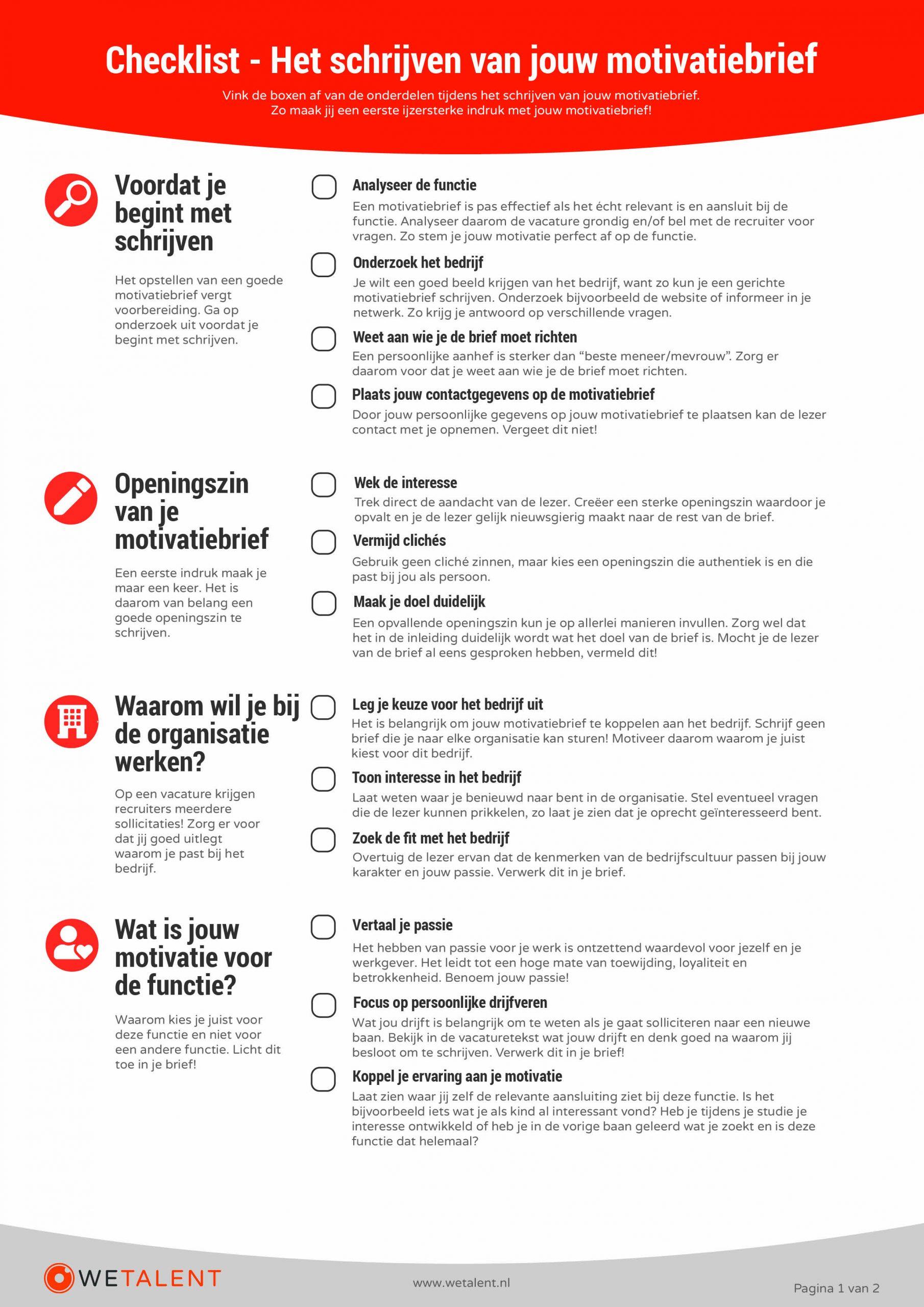 Checklist-motivatiebrief