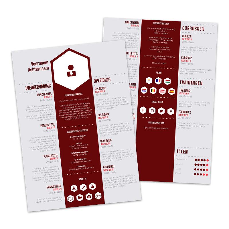Afbeelding WETALENT product Premium cv template Bordeaux